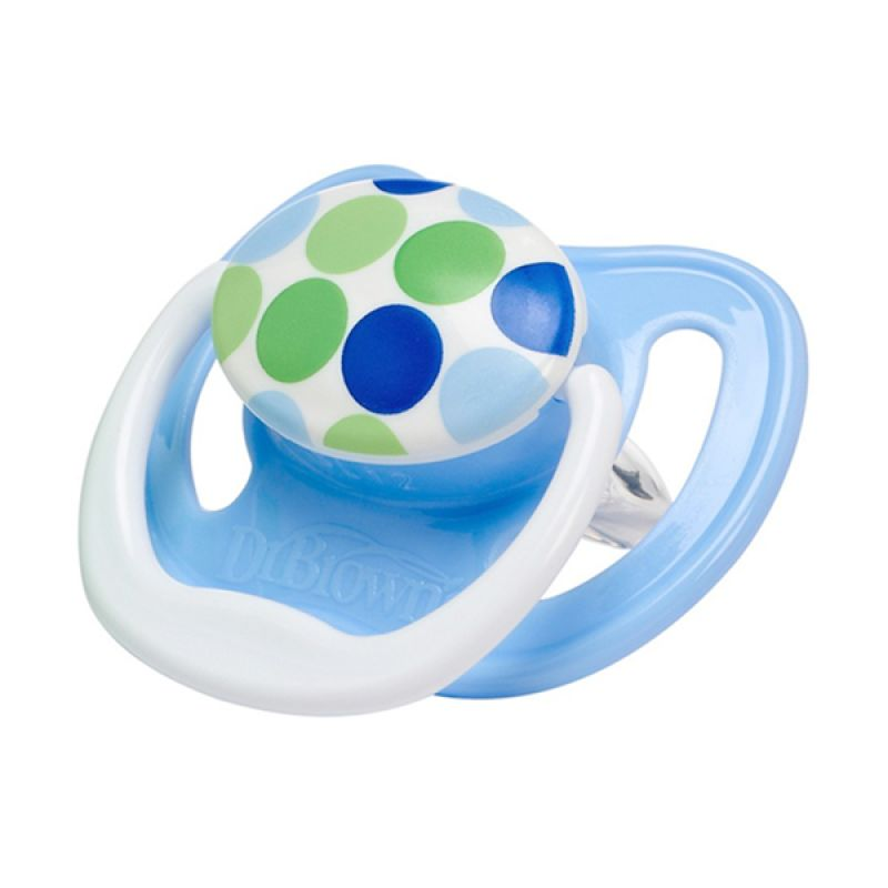 Dr. Brown's NEW 1 Pack PreVent Pacifier Stage 2 Blue Dot Bayi [6-18M]
