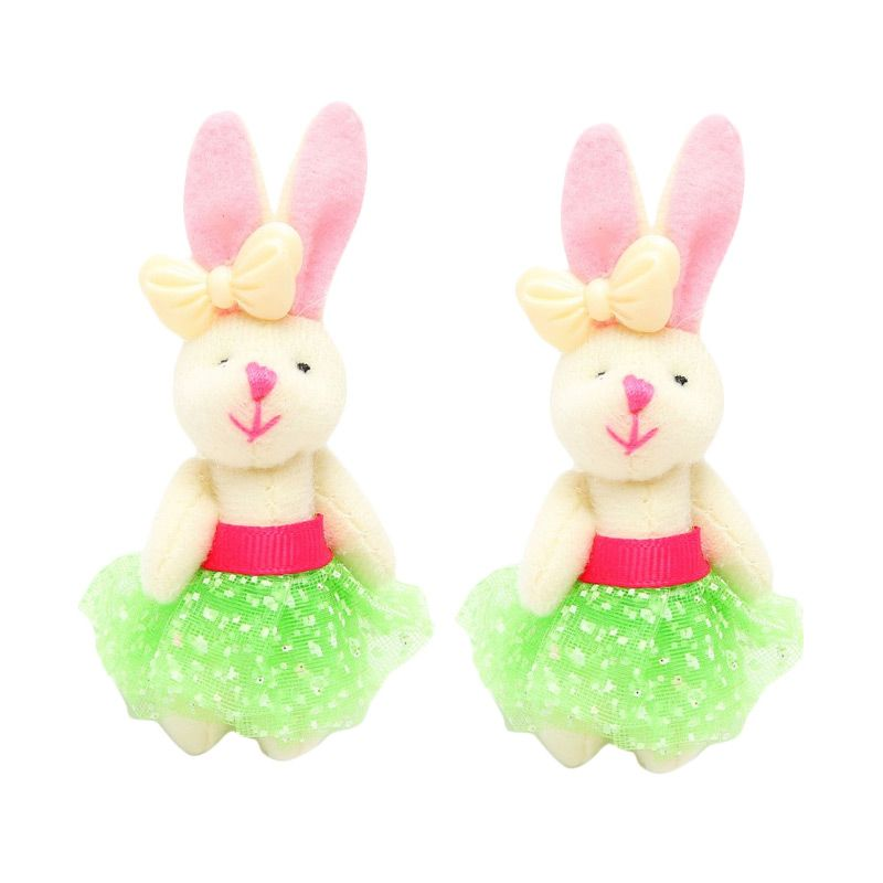 Emily Labels Bunny Green Clip Jepit Rambut [2 pack]