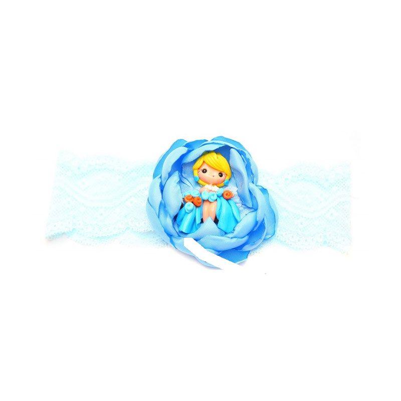 Emily Labels Flower with Fairy Blue Headband Bando
