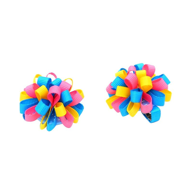 Emily Labels Mini Bubble Pompom Blue Pink Yellow Jepit Rambut Anak