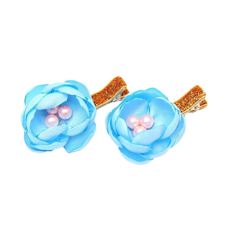 Emily Labels Mini Flower Hairclips Blue Jepit Rambut