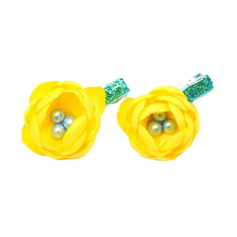 Emily Labels Mini Flower Hairclips Yellow Jepit Rambut