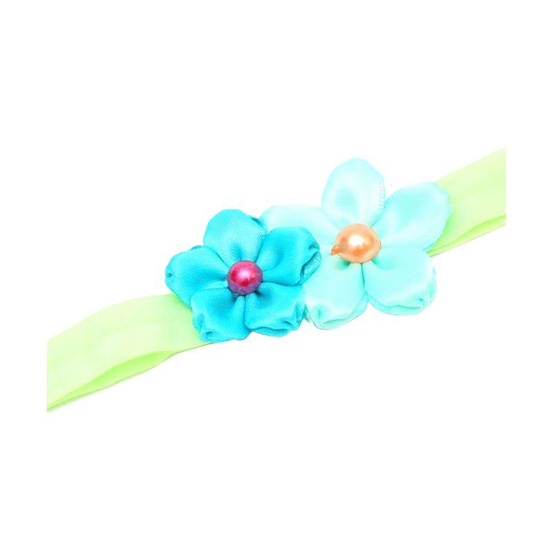 Emily Labels Mini Satin Flower Blue Green Headband Jepit Rambut
