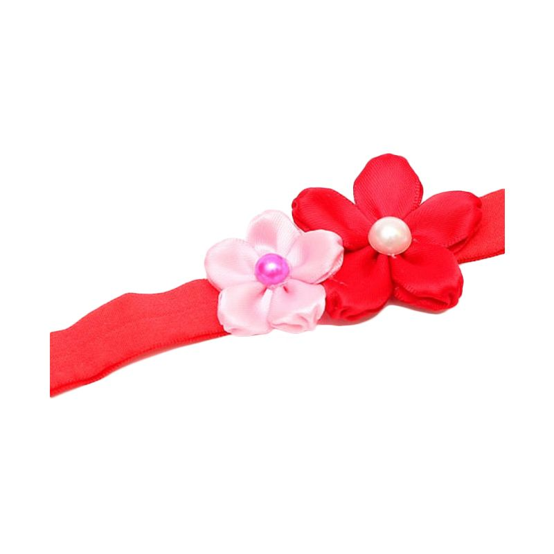 Emily Labels Mini Satin Flower Pink Red Headband