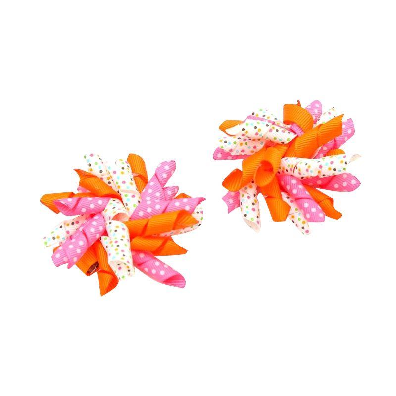 Emily Labels Tie Headband Pink Orange White Tutu Bow