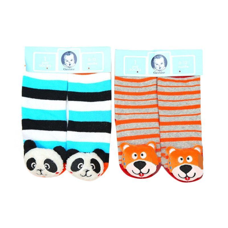 Gerber Rattle Socks Panda and Dog Kaos Kaki