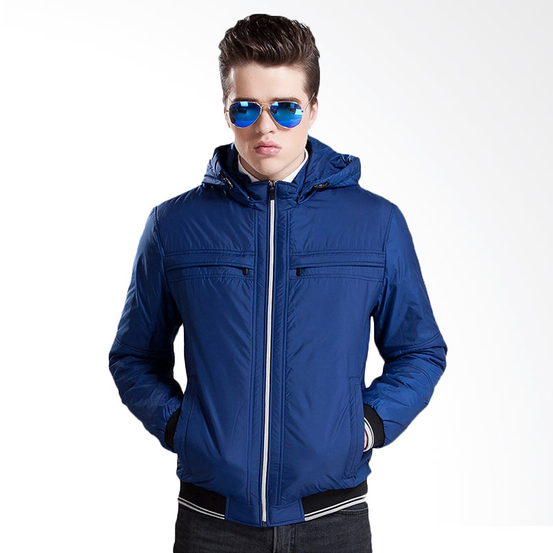Bafash New Casual Zipper Pocket Detachable Jaket Pria - Blue