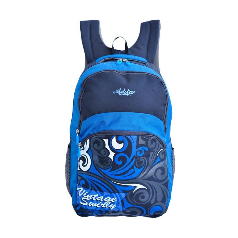 Adstar Vintage Swirly Blue Backpack Tas Ransel Pria