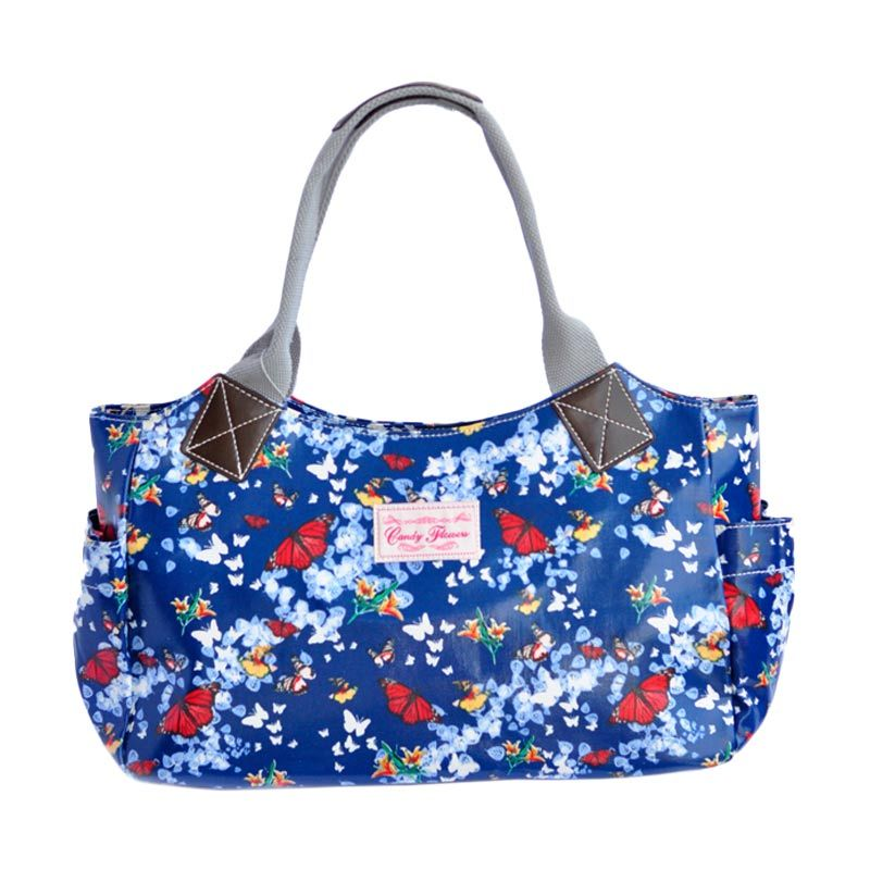 Candy Flower Shoulder Fedora Butterfly Navy Tas Tangan