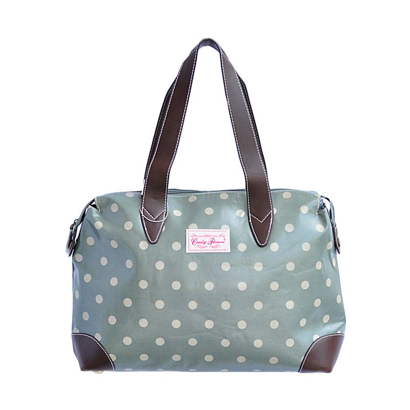 Candy Flower Shoulder Morgen Polkadot Army Green Tas Tangan