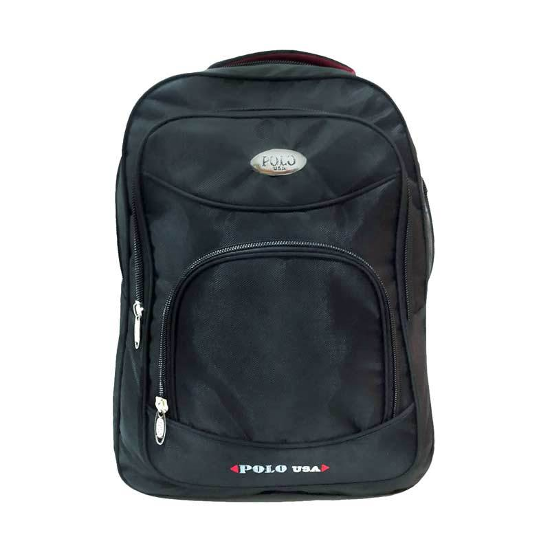 Polo Usa Backpacak Central Laptop Hitam Tas Ransel + Raincover