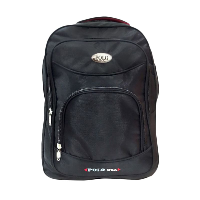Polo USA Central Laptop Back Pack with Rain Cover Hitam Tas Ransel Pria