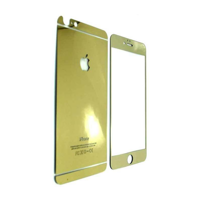 K-Box Premium 3D Diamond Gold Tempered Glass Skin Protector for Iphone 4 [Depan Belakang]