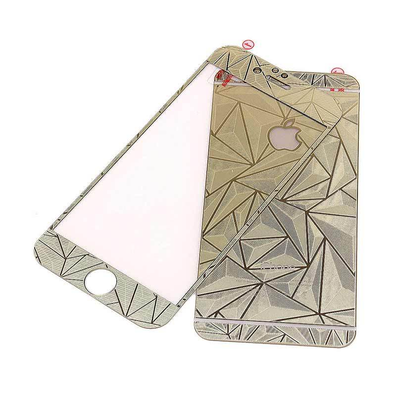 K-Box Premium 3D Diamond Silver Tempered Glass Skin Protector for Iphone 5 (Depan Belakang)