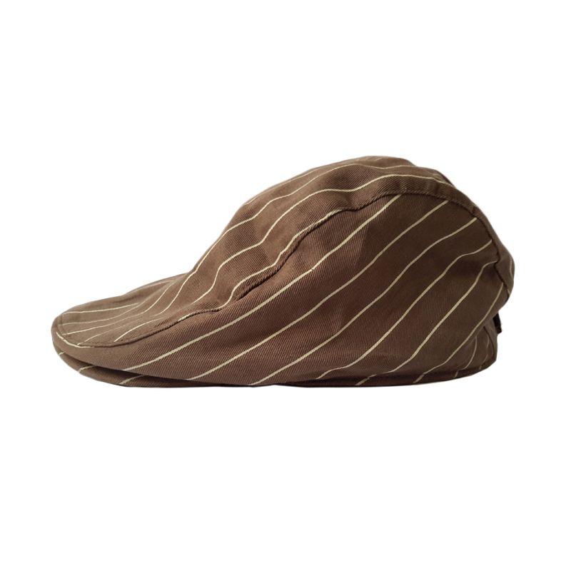 Barbarockfashion Baretta Cokelat Garis-Garis Topi
