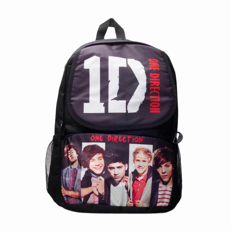 Barbarockfashion Tas Ransel One Direction logo ID Putih Black