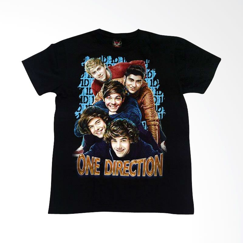 Hot Rock One Direction Lettering Biru Hitam