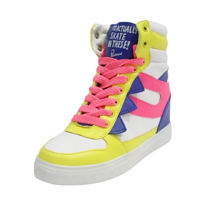 Popurcat Wedges Sneaker Putih Pink Biru Kuning