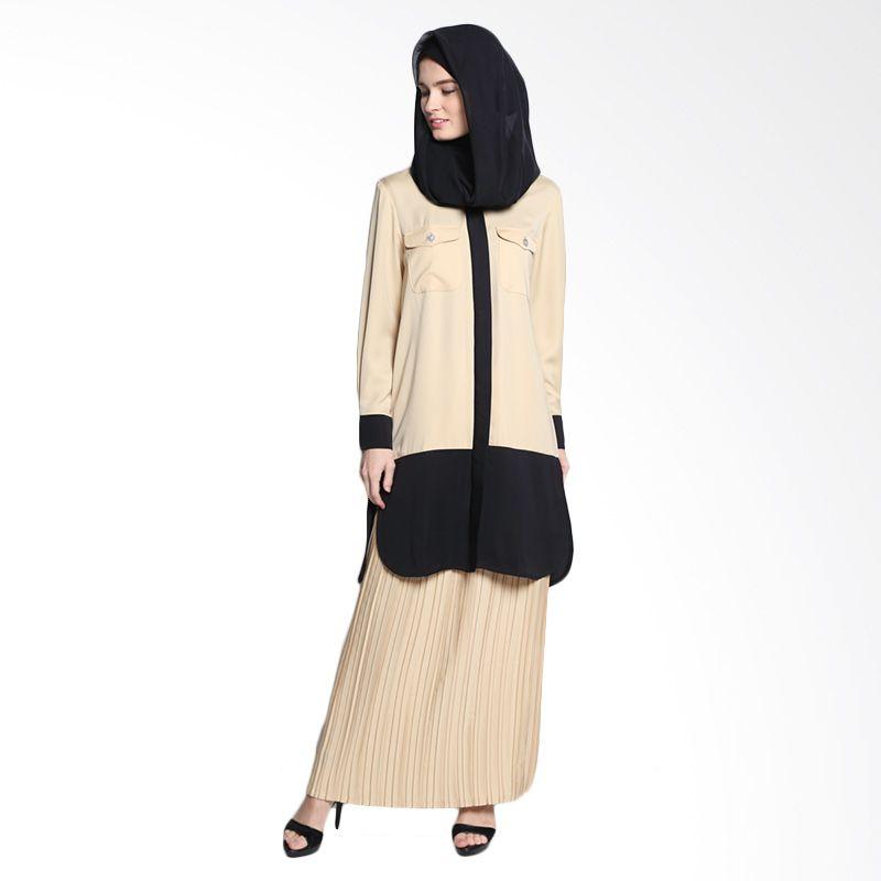 Bashira Sarita LS Long Blouse with 2 Chest Pockets BB/LS/1504 Beige Black Atasan Muslim