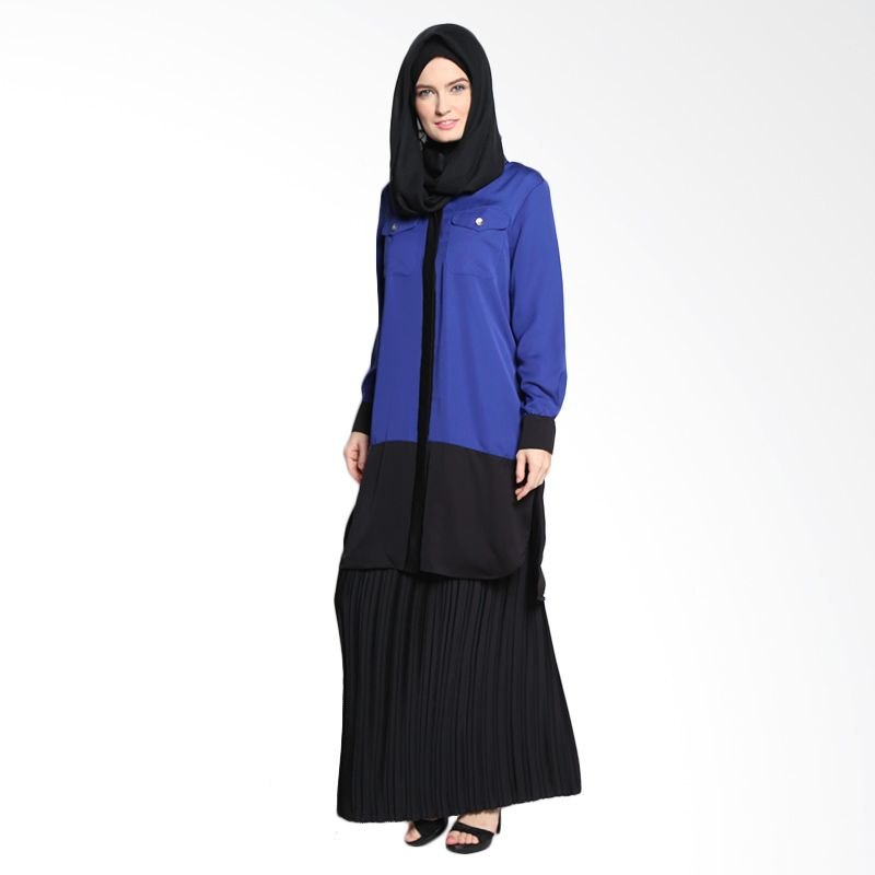 Bashira Sarita LS Long Blouse with 2 Chest Pockets BB/LS/1504 Blue Black Atasan Muslim
