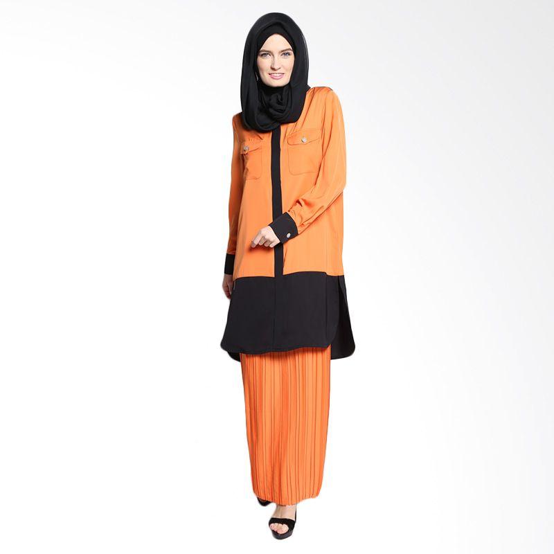 Bashira Sarita LS Long Blouse with 2 Chest Pockets BB/LS/1504 Orange Black Atasan Muslim