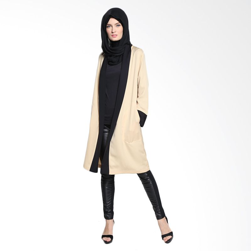 Bashira Thamina Long Sleeve Coats with Tail BC/LS/1508 Beige Black Atasan Muslim