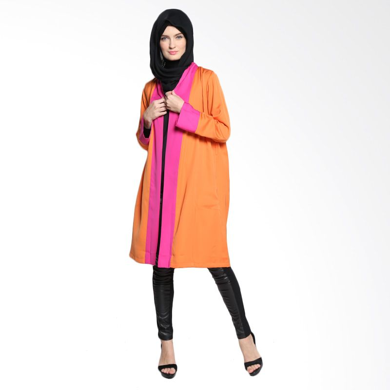 Bashira Thamina LS Long Coats with Belt at waist BC/LS/1508 Orange Pink Atasan Muslim