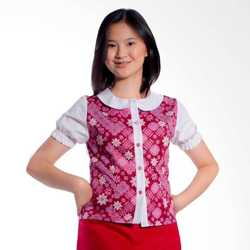 Bateeq Short Sleeve Cotton LA042 Blouse Atasan Wanita - Pink