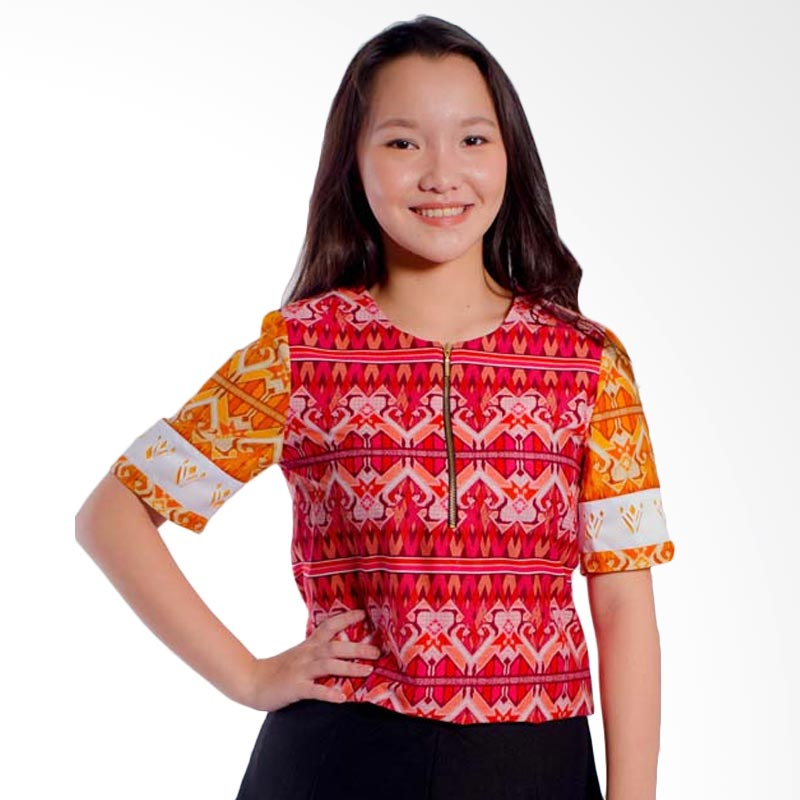 Bateeq LA050 Short Sleeve Cotton Blouse - Orange