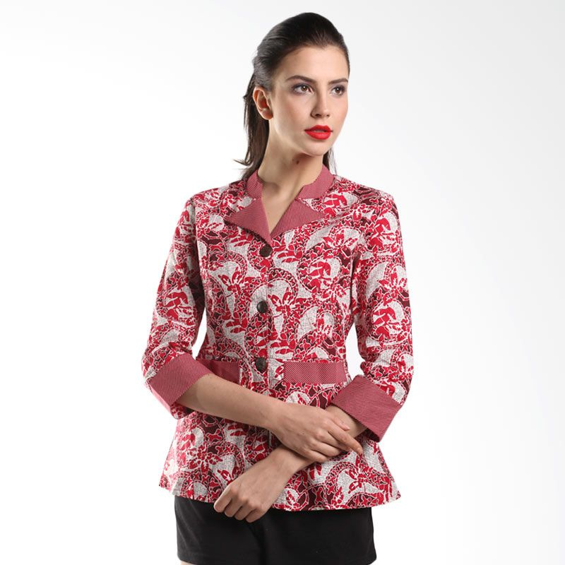 Batik Arjunaweda Women Blouse Batik Ayuningsari Merah 18117035 Atasan Batik