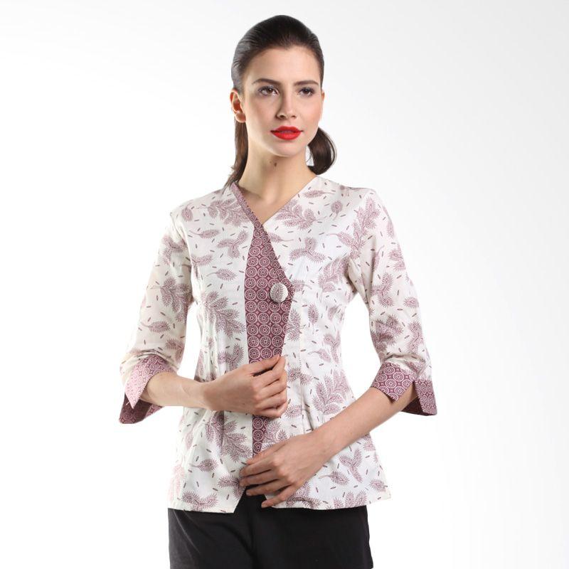 Batik Arjunaweda Women Blouse Batik Bunga Padi 18303055 Ungu Atasan Batik
