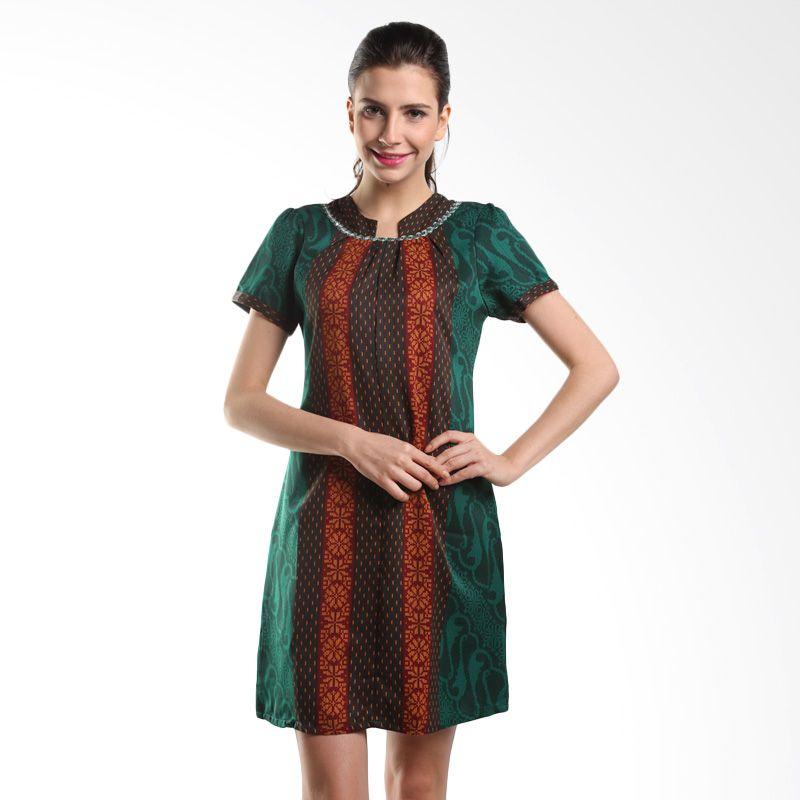 Arjunaweda Sackdress Lerengan Parang 25034015 Hijau Dress Batik