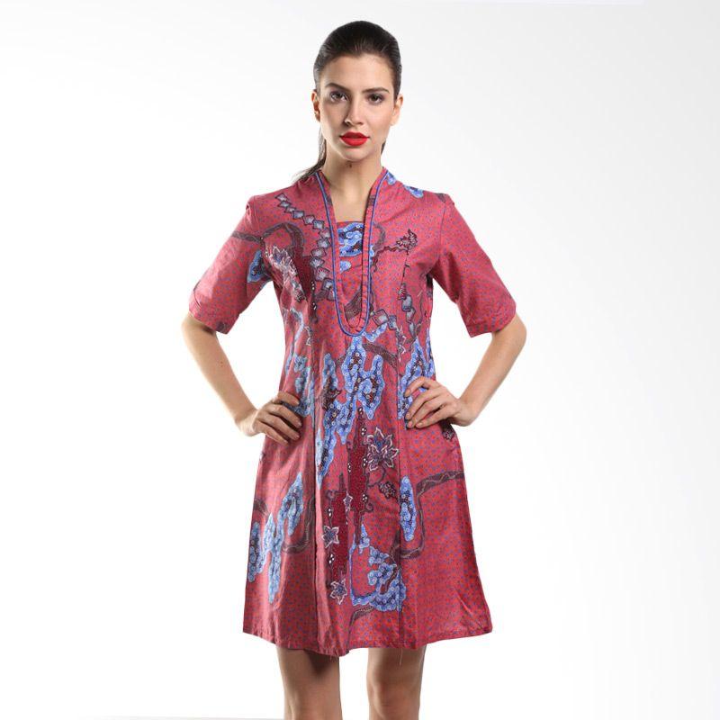 Batik Arjunaweda Women Sackdress Batik Sisik Mega Mendung 19151045 Merah Dress Batik
