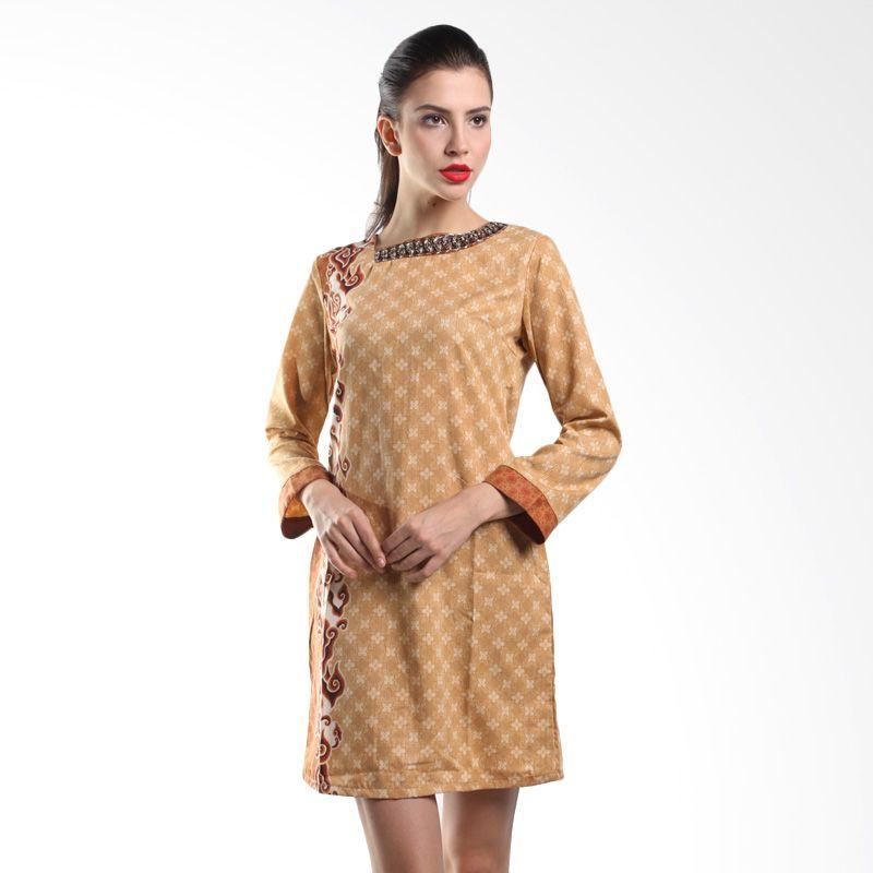 Batik Arjunaweda Women Sackdress Dobby Mega Mendung 28236055 Cokelat Dress Batik