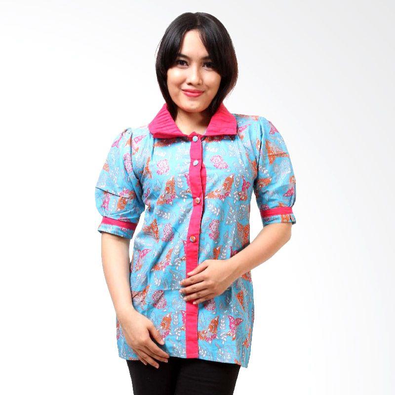 Batik Distro BA3105 Biru Blus Atasan Wanita