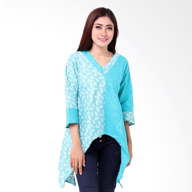 harga Batik Distro BA6877 Embos Belah Blus Wanita - Biru Blibli.com