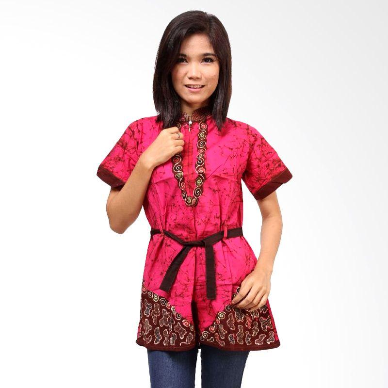 Batik Distro Blus Bledak Tali BA3022 Merah Atasan Wanita