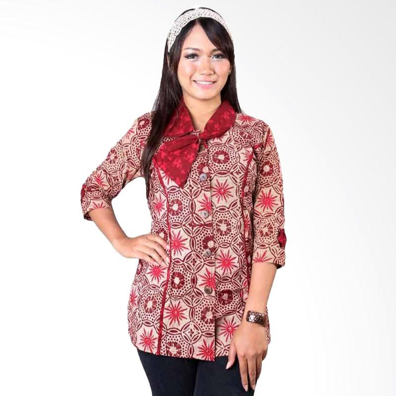 Batik Distro Blus Kantor Dasi Merah B9814
