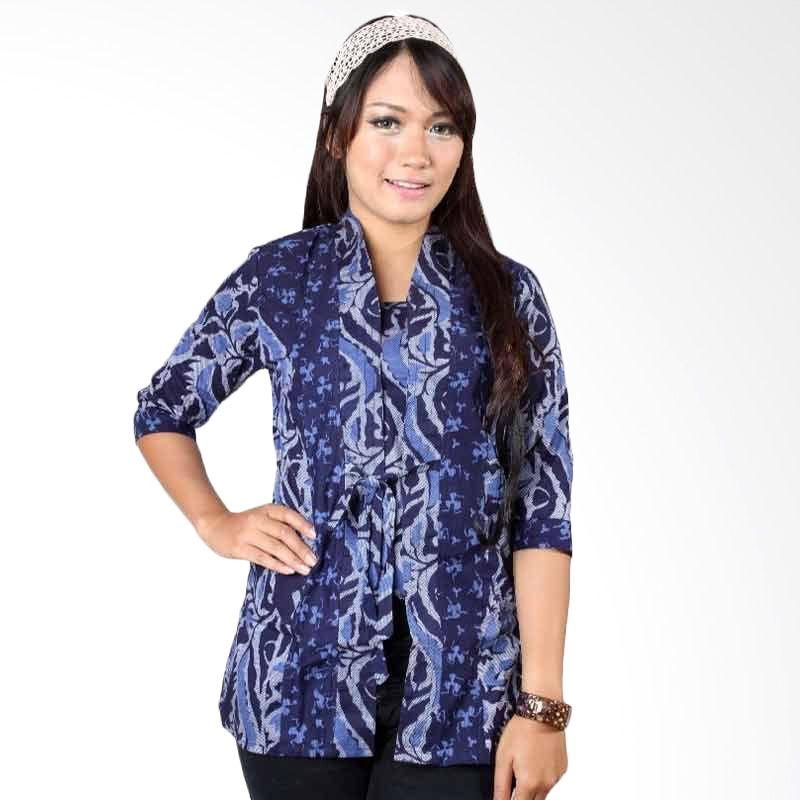 Batik Distro Blus Kebaya Tali Biru B9817