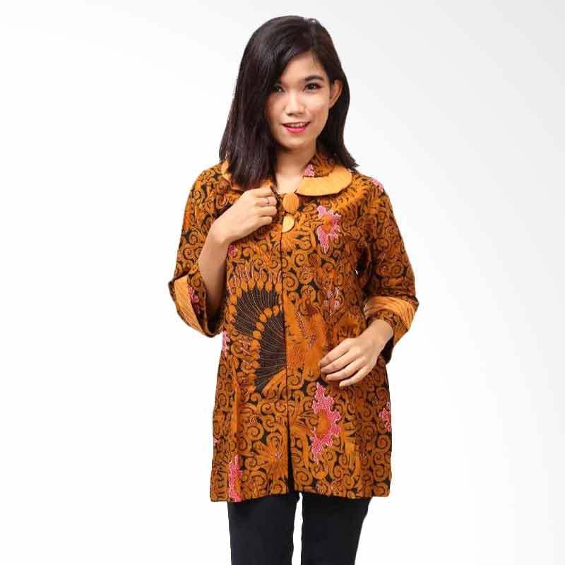 Batik Distro BA3152 Coklat Blus Atasan Wanita