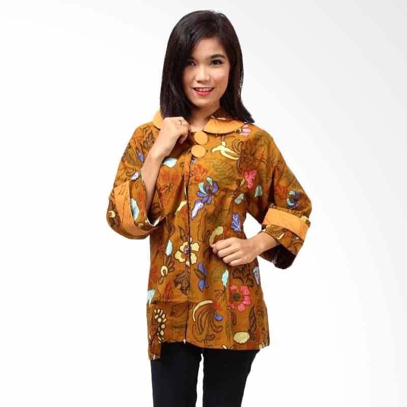 Batik Distro BA3154 Coklat Blus Atasan Wanita
