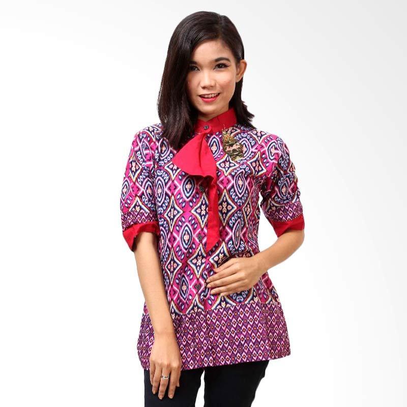 Batik Distro Ruffle A3140 Merah Blus Atasan Wanita