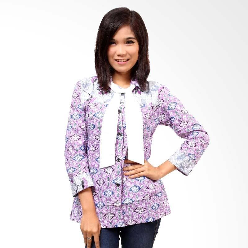 Batik Distro Blus Pita Fix BA2992 Orange Atasan Wanita