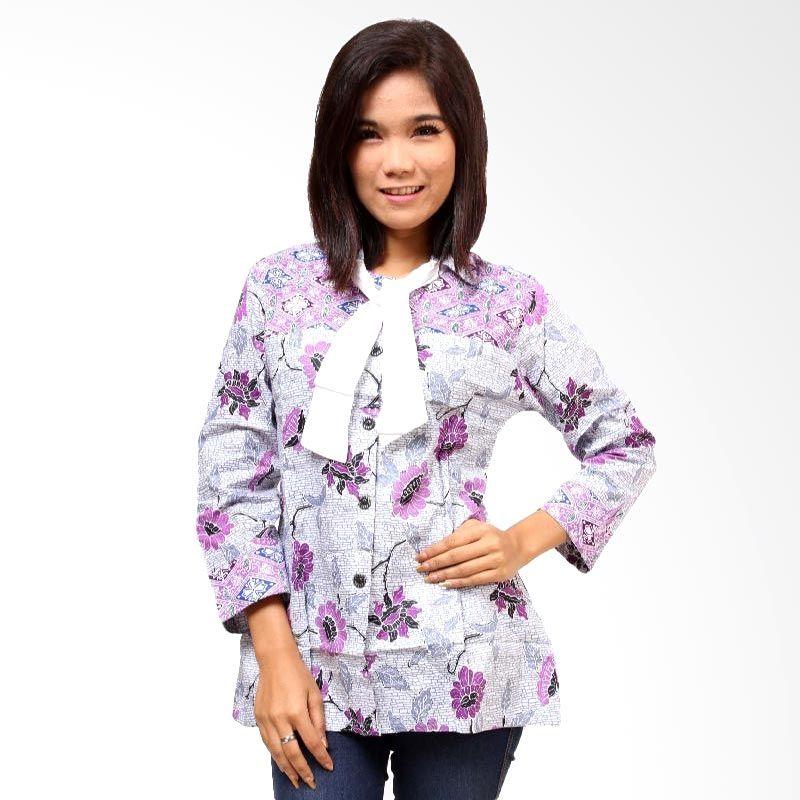 Batik Distro Blus Pita Fix BA3001 Ungu Atasan Wanita