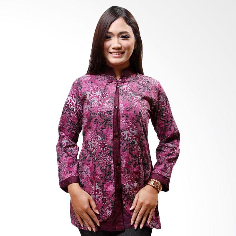 Batik Distro Blus Semi Cardigan Ungu B9111
