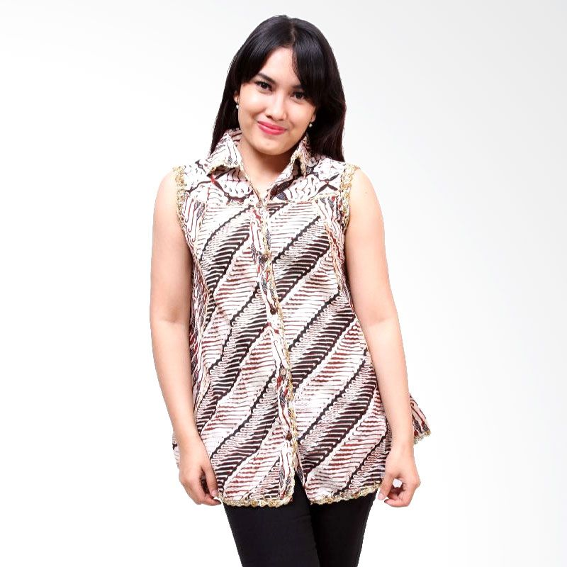 Batik Distro Blus TL Rajut BA3056 Putih Atasan Wanita