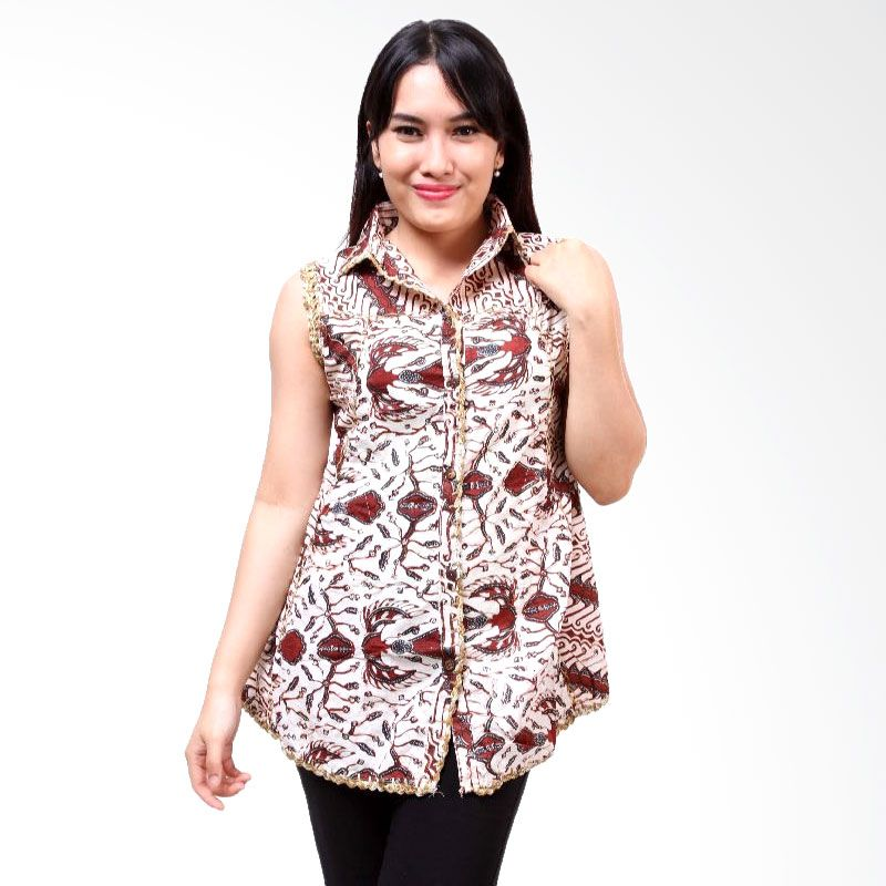 Batik Distro Blus TL Rajut BA3058 Putih Atasan Wanita