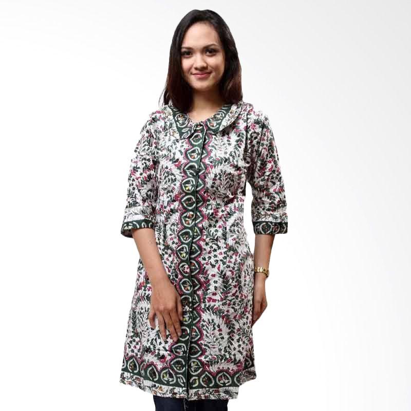 Batik Distro Blus Tunik Jarik Warna Hijau B9889
