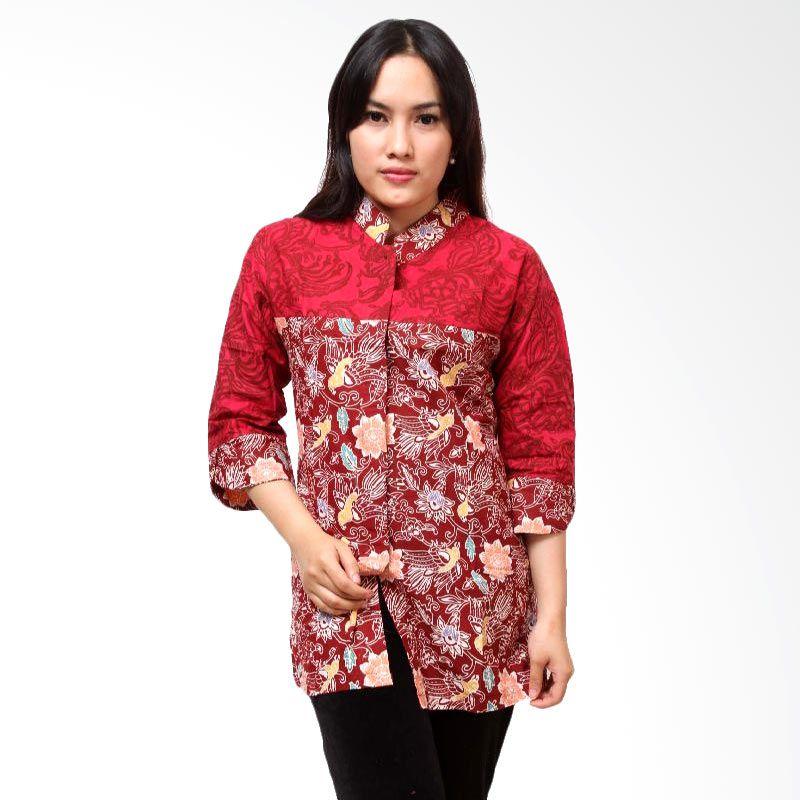 Batik Distro BA3410 Merah Cap Kombinasi Blouse Atasan Wanita