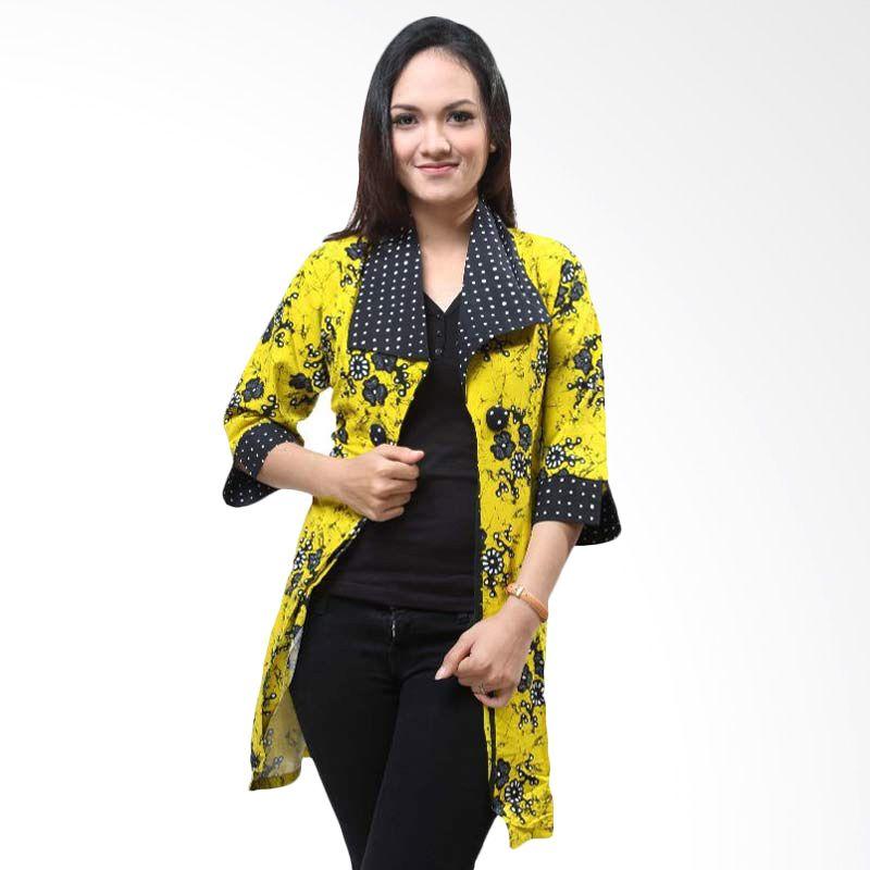 Batik Distro Cardigan Biru Panjang Kerah B9598